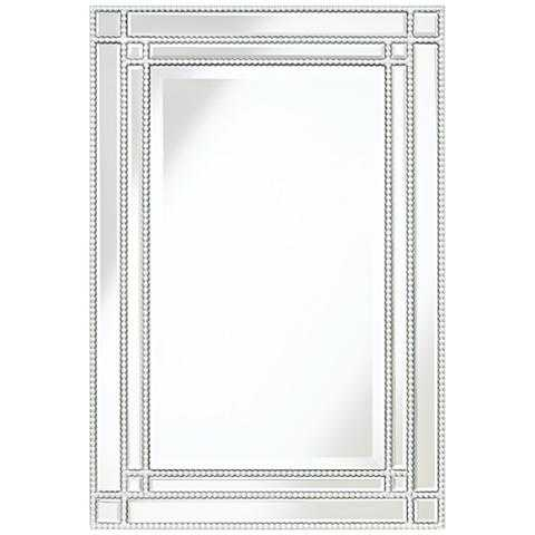 "Ravalli Silver Beaded 34 1/4"" x 23"" Wall Mirror - Lamps Plus"