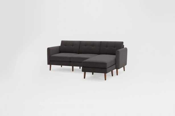Nomad Sofa Sectional - charcoal - dark wood legs - high arms - Burrow