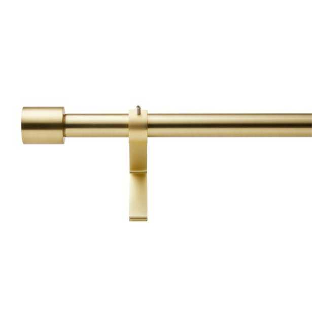 "Brushed Brass Cap Finial Curtain Rod Set 28""-48""x.75""Dia. - CB2"