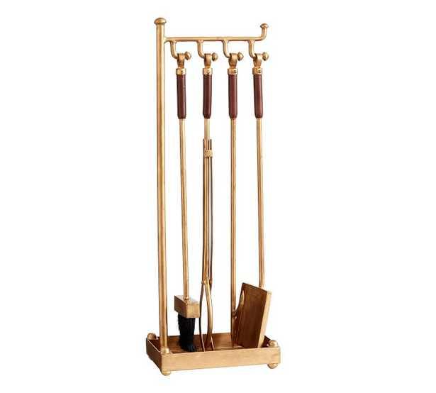 Industrial Fireplace 5-Piece Tool Set, Brass - Pottery Barn