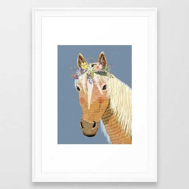 Horse with flower crown Framed Art Print - Society6
