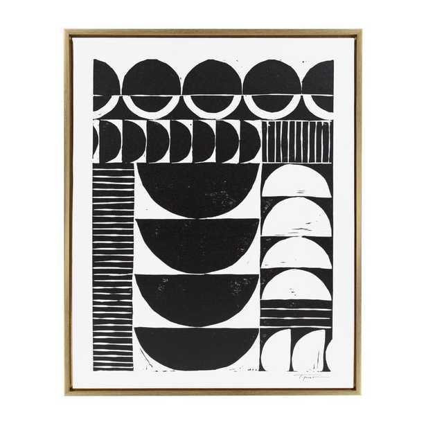 Modern Circular Block' Framed Graphic Art Print on Wrapped Canvas - AllModern