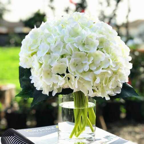 Artificial Hydrangea Floral Arrangement and Centerpiece in Vase - Wayfair