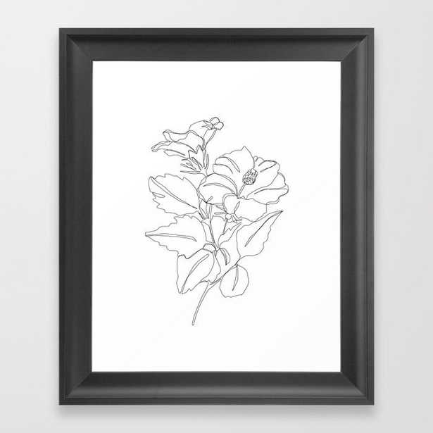 Floral one line drawing - Hibiscus Framed Art Print by Thecolourstudy - Vector Black - Society6