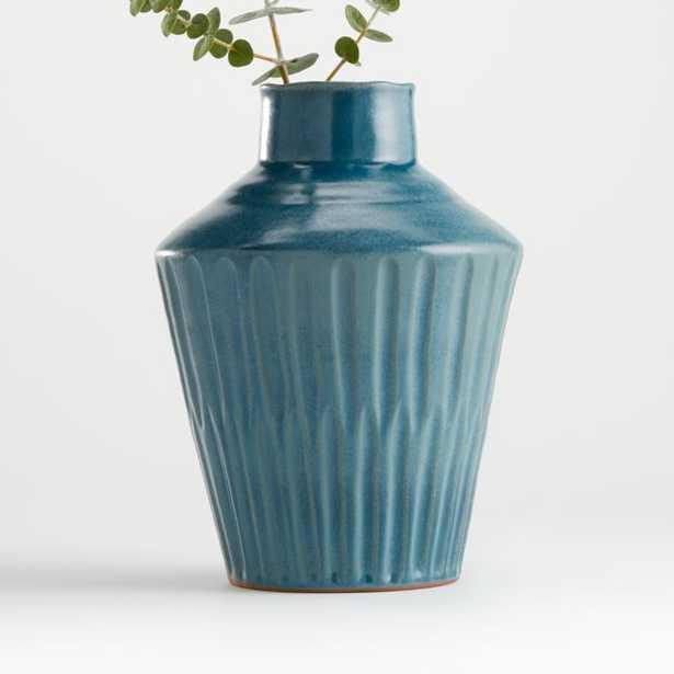 Izma Angled Dark Teal Vase - Crate and Barrel