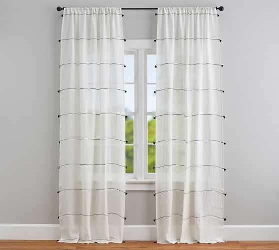 "Striped Linen Sheer Curtain, w/Tassels96"", Ivory - Pottery Barn"