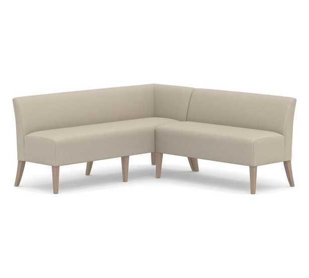 Modular Upholstered Banquette Set, Seadrift Leg, Brushed Crossweave Natural - Pottery Barn