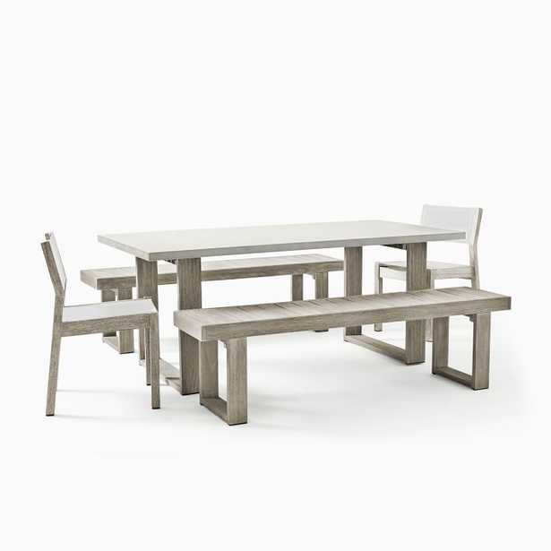 Concrete Outdoor Dining Table, 2 Portside Benches & 2 Portside Textilene Chairs Set, Weathered Gray - West Elm