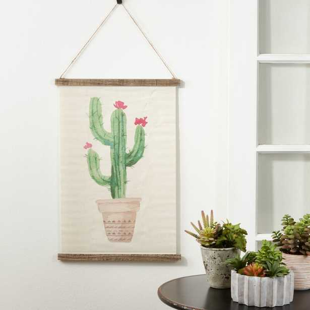 Linen Potted Cactus Design Tapestry with Rod Included - Wayfair