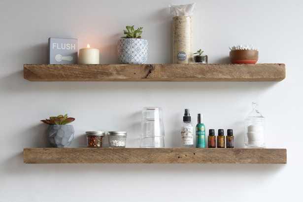 Joao Reclaimed Barn Wood Accent Floating Shelf Set of 2 - Wayfair