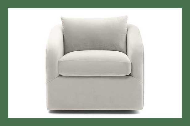 White Amelia Mid Century Modern Swivel Chair - Tussah Snow - Joybird