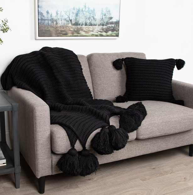 August Grove Dorcheer Chunky Ribbed Knit Throw Blanket in Black - Wayfair