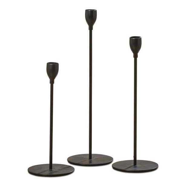 3 Piece Tulip Top Metal Candlestick Holder Set- Black (Back in stock Feb 2021) - Wayfair