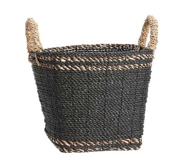 Asher Tote Basket, Medium - Charcoal/Natural - Pottery Barn