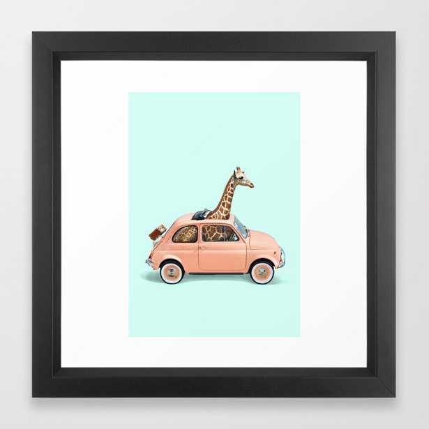 GIRAFFE CAR Framed Art Print by Paul Fuentes - Society6