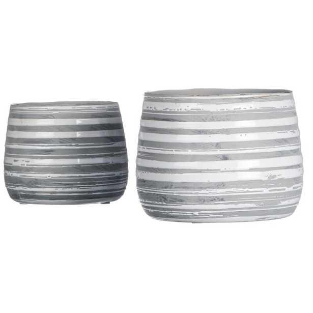 Bessemer Striped 2-Piece Ceramic Pot Planter Set (Set of 2) - Wayfair