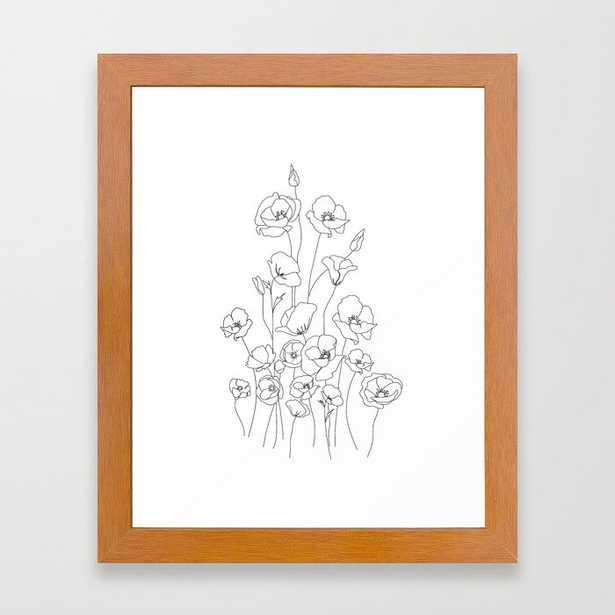 Poppy Flowers Line Art Framed Art Print - Society6