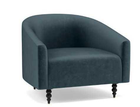 Tegan Accent Chair, Sapphire Mod Velvet, Matte Black Tapered Turned Wood Leg - Interior Define