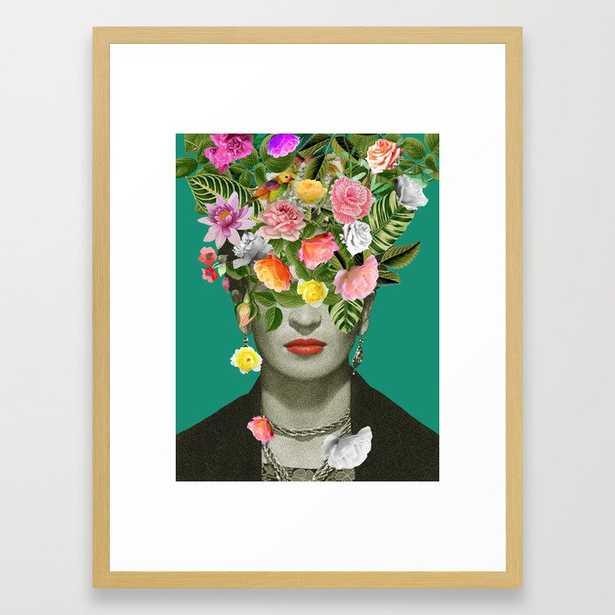 Frida Floral Framed Art Print - 20x26 - Vector Black Frame - Society6