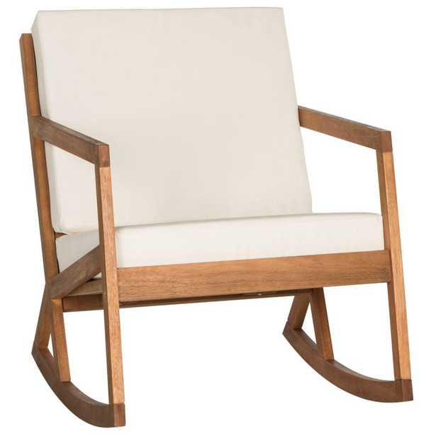 Safavieh Vernon Teak Brown Outdoor Patio Rocking Chair with Beige Cushion - Home Depot