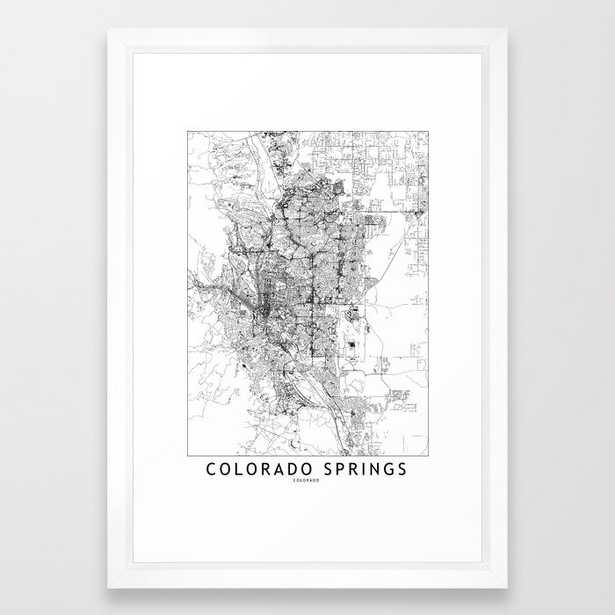 Colorado Springs White Map Framed Art Print - Society6
