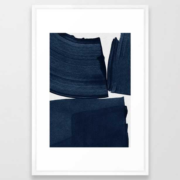 Minimalist Painting Blue I, Navy Decor Framed Art Print - Society6