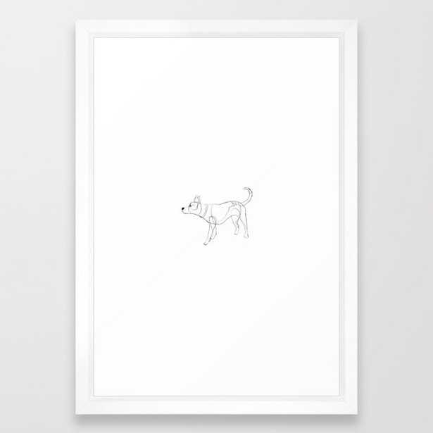 """Minimalist line art drawing of Year of the Dog Framed Art Print, Vector White Frame 15""""x21"""" - Society6"""
