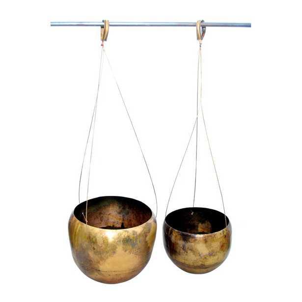 Crossett 2 Piece Galvanized Iron Hanging Planter Set - Wayfair