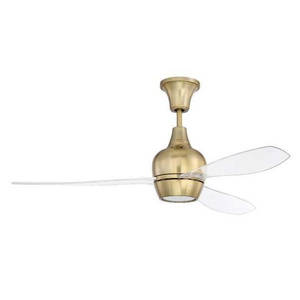 "Satin Brass with Clear Acrylic Blades 52"" Mcnemar 3 Blade LED Ceiling Fan, Light Kit Included - Wayfair"