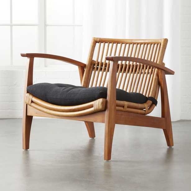 Noelie Rattan Lounge Chair with Black Cushion - CB2