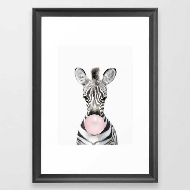 """Bubble Gum Zebra Framed Art Print - 15""""x21"""" - Scoop Black - Society6"""