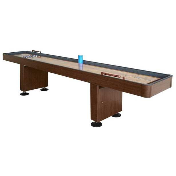 Challenger 12 ft. Shuffleboard Table w Walnut Finish, Hardwood Playfield, Storage Cabinets - Wayfair