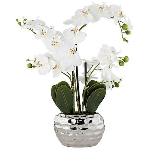 """White Phalaenopsis 23""""H Faux Orchid in Silver Ceramic Pot - Lamps Plus"""