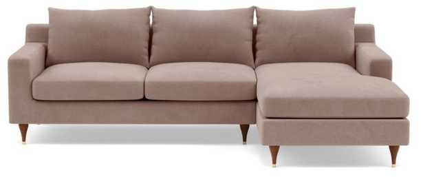 "SLOAN Sectional Sofa with Right Chaise - Platinum Performance Velvet - Walnut w/ Brass Cap - 96"" - Interior Define"
