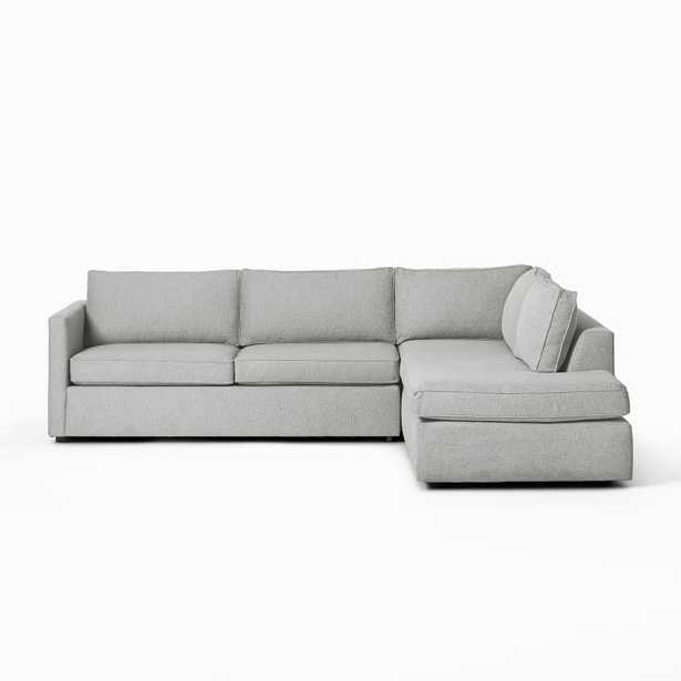 """Harris Sectional Set 10: Right Arm 65"""" Sofa, Left Arm Terminal Chaise, Poly, Heathered Crosshatch, Feather Gray, - West Elm"""