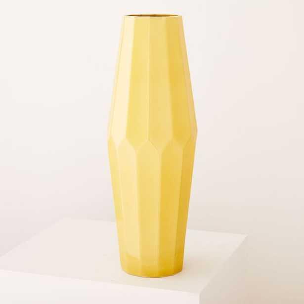 New Faceted Porcelain Vase, Tall Tapered, Dark Horseradish - West Elm