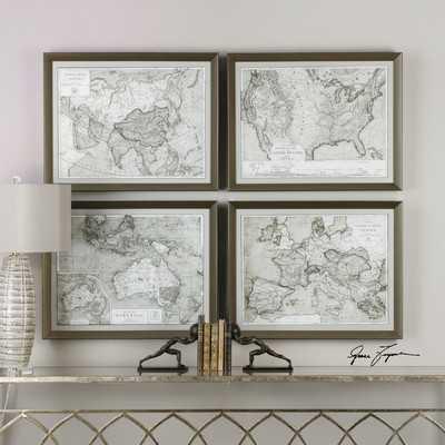 World Maps, Framed Print S/4 - Hudsonhill Foundry