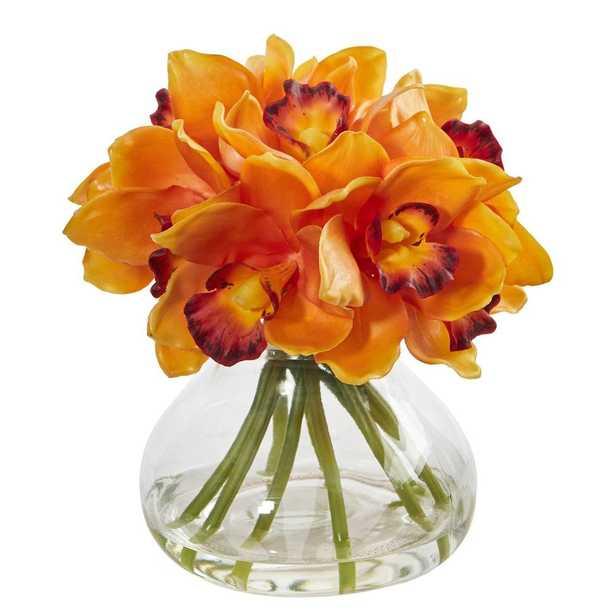 Cymbidium Orchid Artificial Arrangement in Glass Vase - Fiddle + Bloom