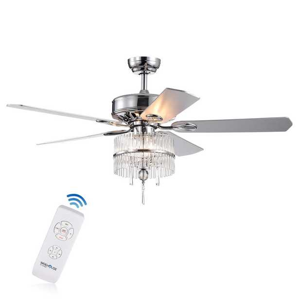 Wyllow DeBase 52 in. Chrome Crystal Flutes Shade Ceiling Fan with Light Kit and Remote Control - Home Depot