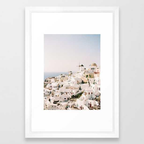 Santorini Sunset Framed Art Print - Vector White - Small - Society6