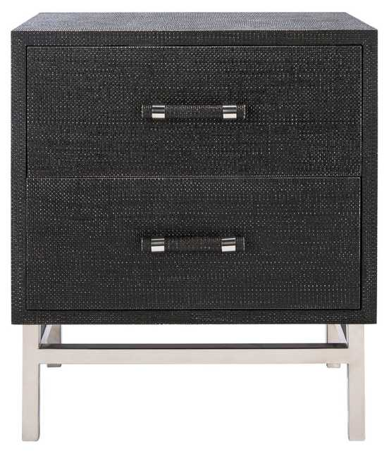 Safavieh Couture Furn 2 - Drawer Nightstand in Gray Color: Black - Perigold