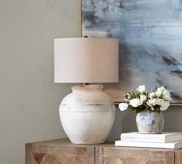 "Faris Ceramic 16"" Table Lamp, Ivory Base with Medium SS Textured Gallery Shade - Pottery Barn"