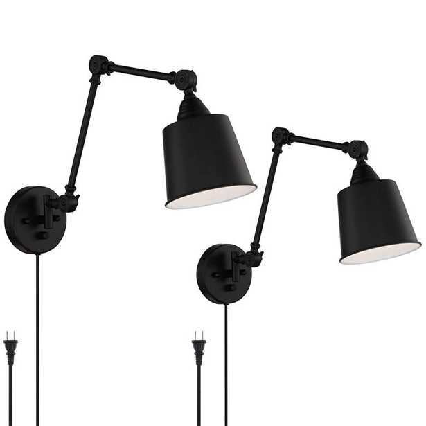 """Mendes Black Finish 12 1/2"""" High Plug-In Wall Lamps Set of 2 - Style # 88H06 - Lamps Plus"""