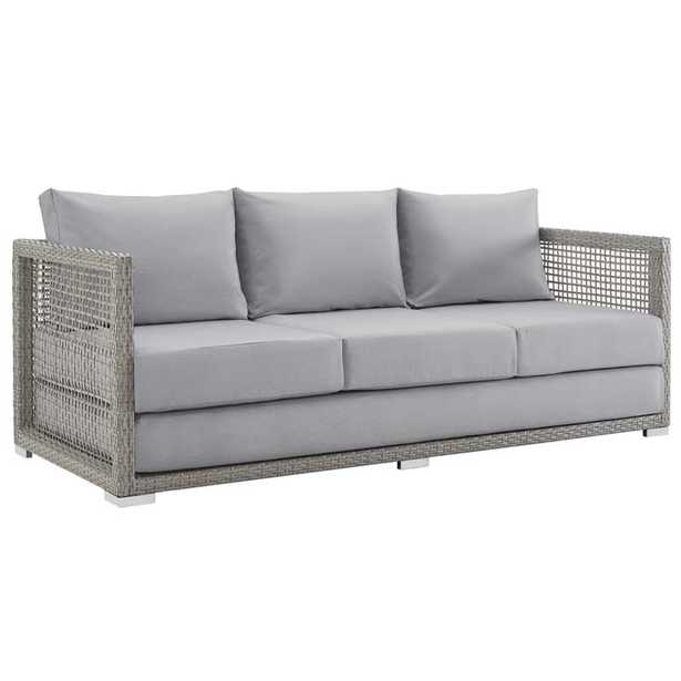 AURA OUTDOOR PATIO WICKER RATTAN SOFA IN GRAY GRAY - Modway Furniture