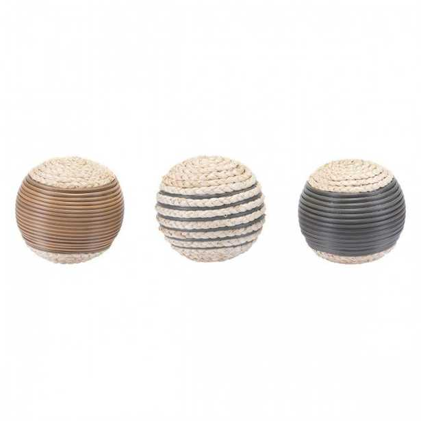 Caixa Set Of 3 Balls Brown - Zuri Studios
