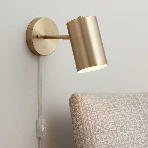 Carla Polished Brass Down-Light Pin-Up Wall Lamp - Lamps Plus