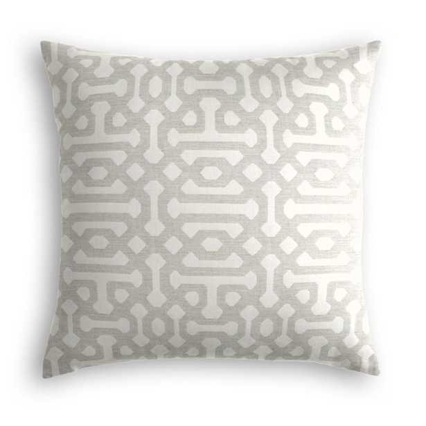 Outdoor Pillow  Sunbrella® Fretwork - Pewter - 22x22 - no trim - polyester insert - Loom Decor