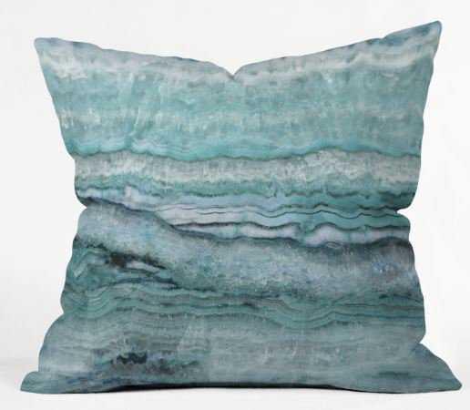 """Mystic Stone Aqua Teal Pillow - 18""""x18"""" - Wander Print Co."""