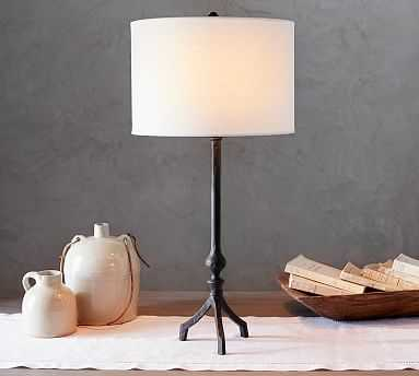 Jerome Table Lamp, Bronze Base With Small Gallery Straight Sided Linen Drum Shade, White - Pottery Barn