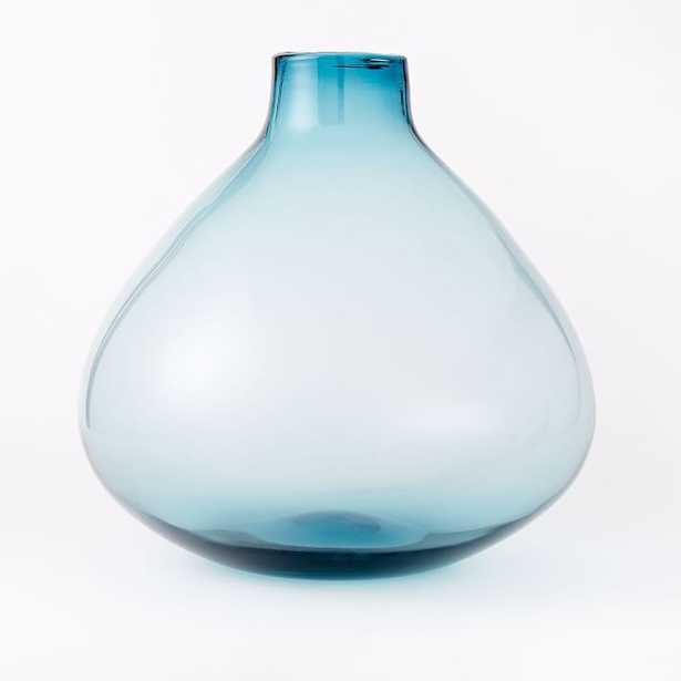 Oversized Glass Vase, Blue - West Elm